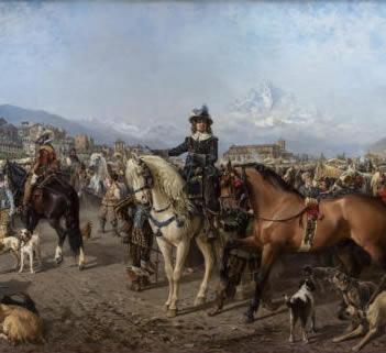 Il grande dipinto la Fiera di Saluzzo alla mostra Cavalli, costumi e dimore a Torino